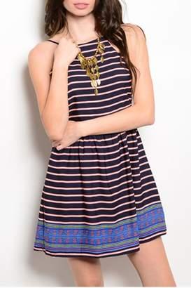 Sage Navy Stripes Dress