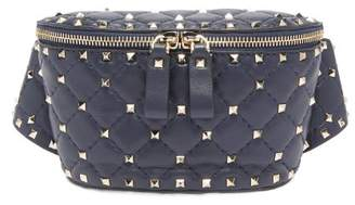 Valentino Rockstud Spike Quilted Leather Belt Bag - Womens - Navy