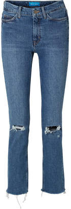 MiH Jeans Daily Frayed High-rise Straight-leg Jeans - Mid denim