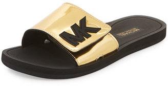 MICHAEL Michael Kors MK Metallic Slide Sandal, Gold $49 thestylecure.com