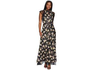 Tahari ASL Floral High Neck with Lace Sleeve A-Line Gown Women's Dress