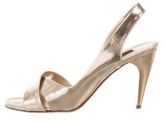 Louis Vuitton Metallic Leather Slingback Sandals