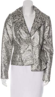 Carmen Marc Valvo Metallic Button-Up Blazer