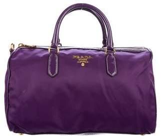 Prada Leather-Trimmed Tessuto Handle Bag