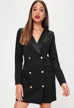 Missguided Black Tuxedo Long Dress