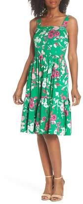 Eliza J Ruffle Hem Cotton Fit & Flare Sundress (Regular & Petite)