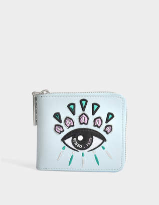 Kenzo Squared Wallet in Sky Blue Calfskin