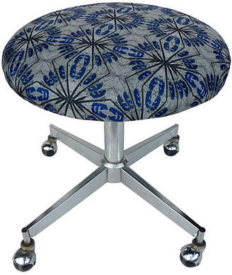 One Kings Lane Vintage Midcentury Round Stool with Casters - Kakar House of Design