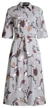 Lafayette 148 New York Women's Eleni Stripe Floral Print A-Line Shirt Dress - Ink Multi - Size XS
