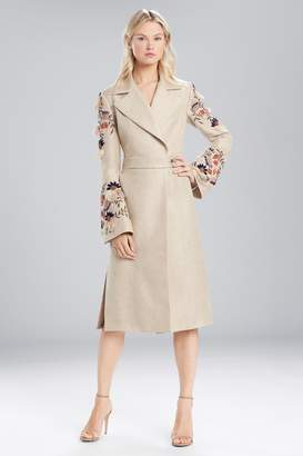 Natori Josie Straw Mixed Media Embroidered Trench Coat