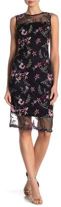 Modern American Designer Embroidered Mesh Illusion Dress