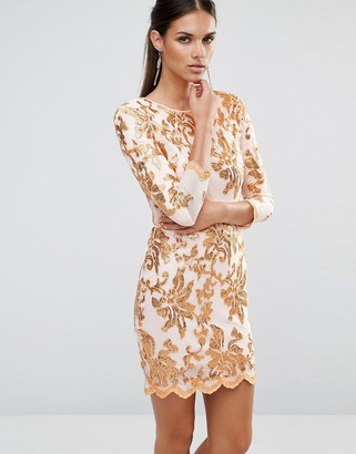 TFNC Floral Sequin Midi Dress With 3/4 Sleeve $83 thestylecure.com
