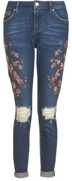 Topshop Topshop Moto limited edition blossom beaded lucas jeans
