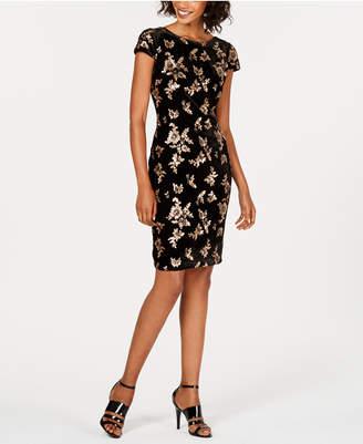 Calvin Klein Sequin-Embellished Velvet Sheath Dress