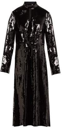 Tibi Avril Sequinned Midi Dress - Womens - Black Navy