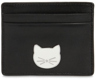 Karl Lagerfeld Choupette Patch Leather Card Holder