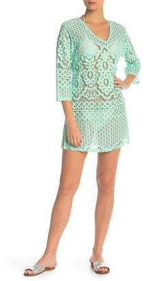 J Valdi Crochet Mesh 3\u002F4 Sleeve Tunic Cover-Up