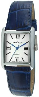 Peugeot Women's Silver Tank Roman Numeral Leather Band Watch 3036BL