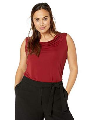 Nine West Women's Plus Size Sleeveless Drape Neck Jersey TOP