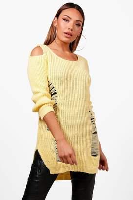 boohoo Lottie Soft Knit Cold Shoulder Distressed Tunic Jumper