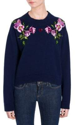 Dolce & Gabbana Cashmere Cropped Floral Embroidered Sweater