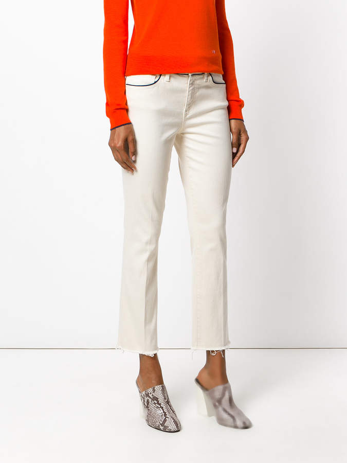 Tory Burch Sara cropped kick boot jeans