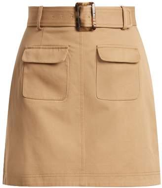ALEXACHUNG Patch-pocket A-line cotton mini skirt