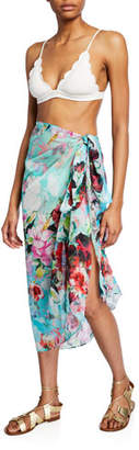 Jets Floral-Print Silk Sarong Coverup