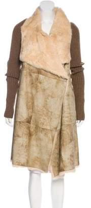 Plein Sud Jeanius Fur-Trimmed Long Jacket w/ Tags