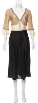 Alberta Ferretti Bell Sleeve Midi Dress Beige Bell Sleeve Midi Dress