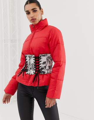 Asos DESIGN Puffer Jacket with Printed Corset