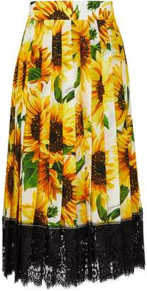 Dolce & Gabbana Sunflower silk skirt