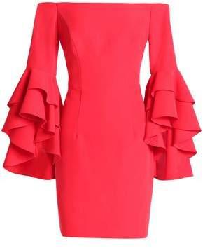 Milly Selena Off-The-Shoulder Ruffled Cady Mini Dress