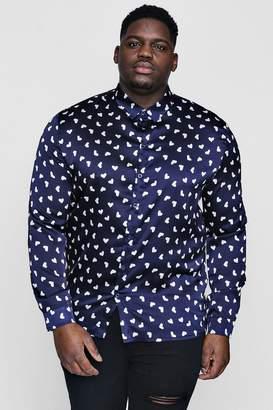 boohoo Big And Tall Long Sleeve Heart Print Shirt