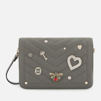 Dune Women's Devania Small Quilted Embellished Cross Body Bag - Grey