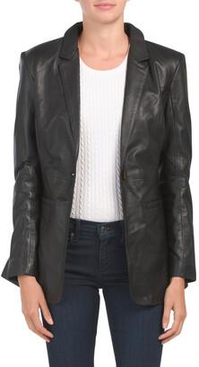 One Button Leather Blazer