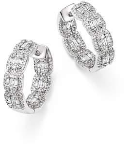Bloomingdale's Diamond Round & Baguette Hoop Earrings in 14K White Gold, 2.0 ct. t.w. - 100% Exclusive