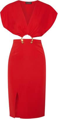 HANEY Kerr Embellished Cutout Stretch-silk Dress