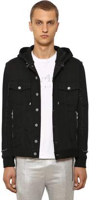 Balmain Hooded Cotton Denim & Jersey Jacket