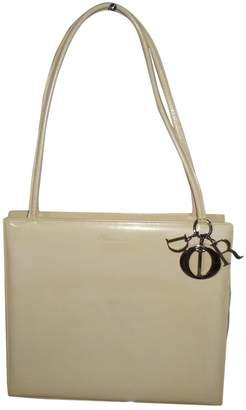 Dior Vintage Lady White Patent Leather Handbag