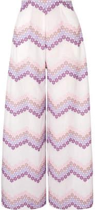 Miguelina Pamela Embroidered Cotton-poplin Wide-leg Pants - White