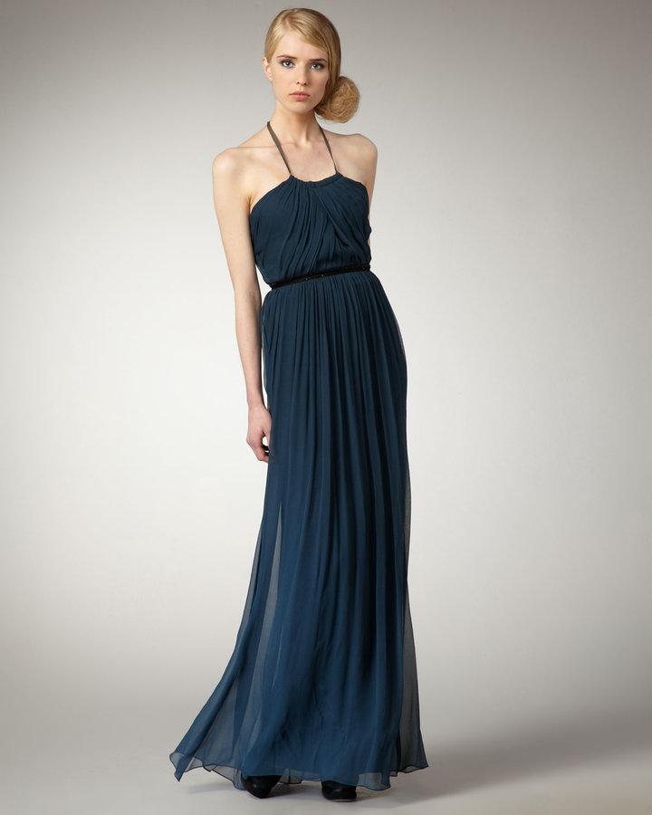 Vera Wang Lavender Halter Silk Gown