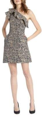 ML Monique Lhuillier Floral Ruffled Shift Dress