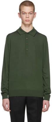 Paul Smith Green Long Sleeve Merino Polo
