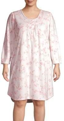 Miss Elaine Plus Floral High-Low Sleepshirt