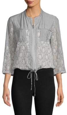 BCBGeneration Lace-Front Striped Top