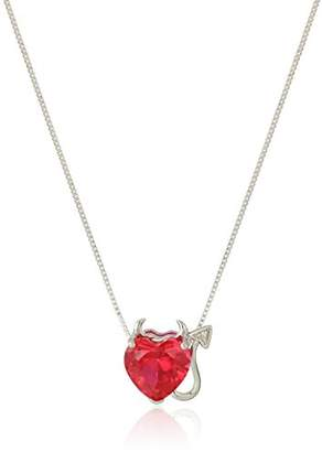 Women's Sterling Silver Created Ruby Heart With Diamond Devil Pendant Necklace