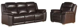 Abbyson Living Georgia Top Grain Leather 2-Piece Sofa and Armchair Set