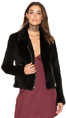 Muubaa Spitfire Rabbit Fur Biker Jacket in Black $869 thestylecure.com