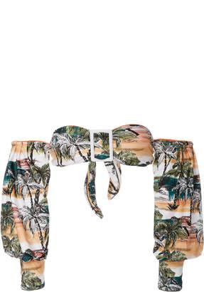 Agua de Coco Long Sleeved Bandeau Bikini Top